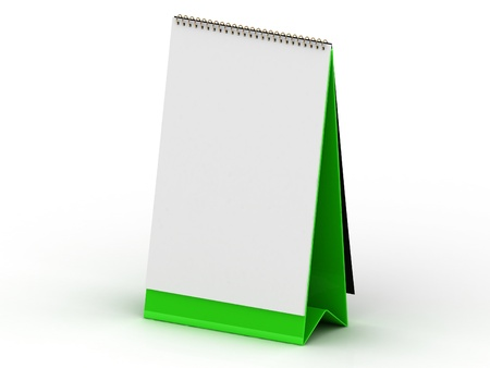Green stand for calendar on a white background photo