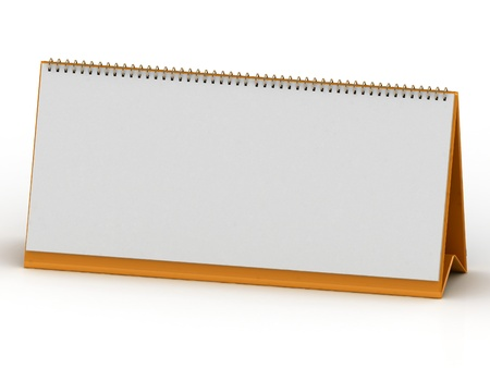 Clean desk calendar on the orange stand on a white background photo