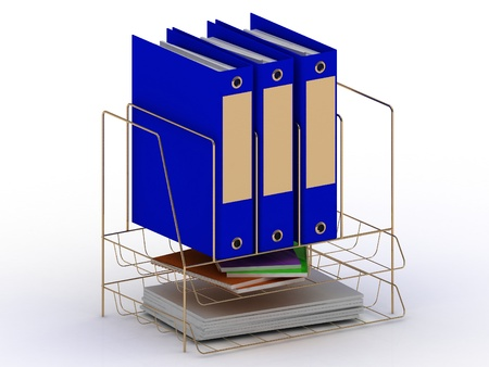 Archive documents of three blue folders on a gold stand with gold tabs  3D image photo