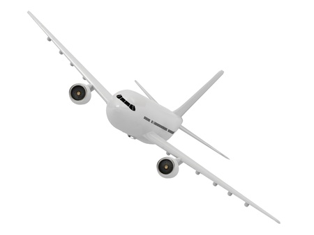 White passenger airliner makes a turn on a white background