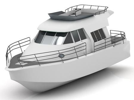 motorizado: Prima motorizado barco de recreo aislado en fondo blanco Foto de archivo