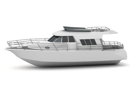Bella yacht bianco su sfondo bianco
