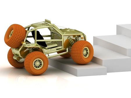 Radio-controlled model buggy with orange wheels up the white stairs photo