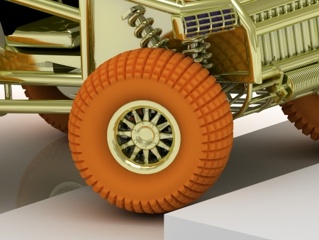 Orange wheel buggy up the stairs. 3d image of a closeup photo