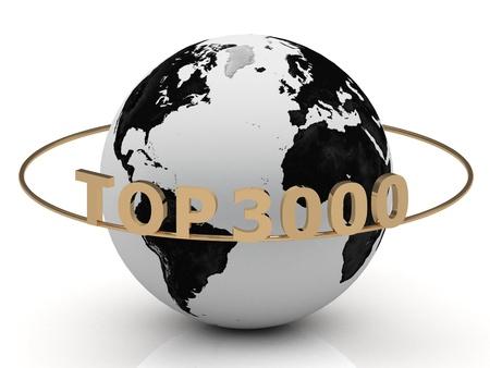 TOP 3000 di lettere d'oro sul ring intorno alla terra