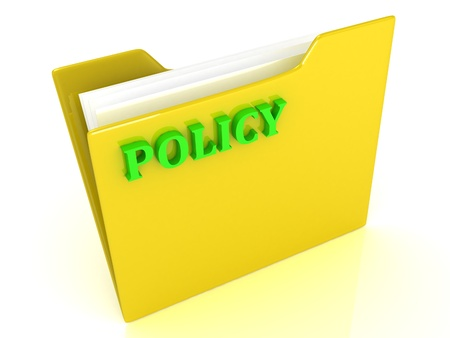 Policy bright green letters on a yellow folder with papers and documents on a white background
