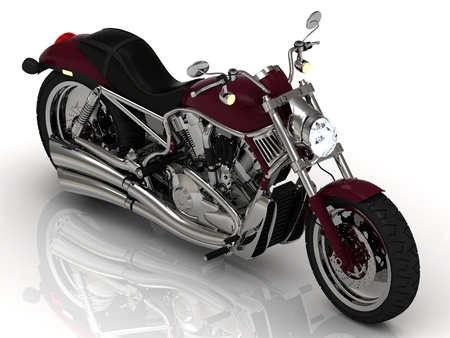 Beautiful road motorcycle with the headlight on a white background photo