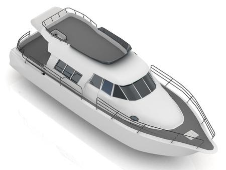 motorizado: Vista superior prima motorizado barco de recreo aislado en fondo blanco