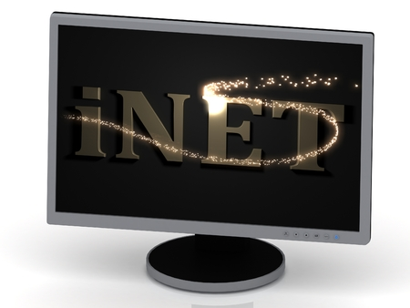 inet: iNET Inscription on monitor from metal letters with beautiful 3D glowing trail lights