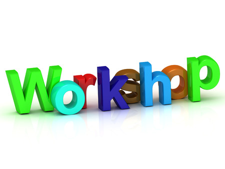 Workshop bright colour letters on white background photo