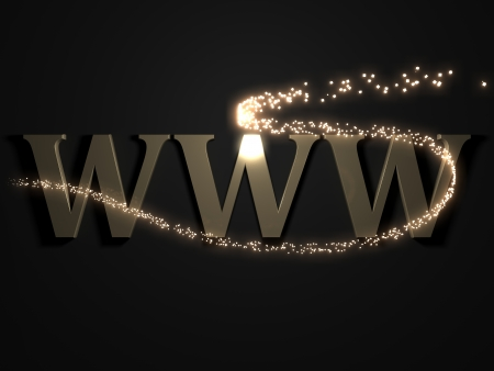 WWW from metal letters with beautiful 3D glowing trail lights photo