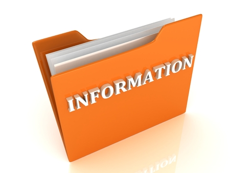 INFORMATION bright white letters on a orange folder on a white background photo