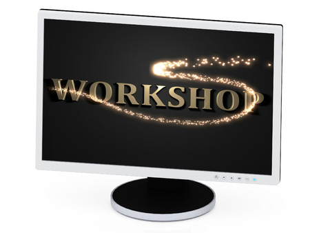 WORKSHOP 3d inscription with luminous spark on screen of the computer photo
