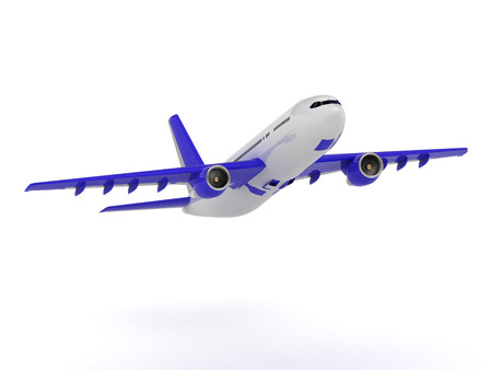 White passenger airliner with blue wings gains altitude. Frontal Viewing isolated on white photo