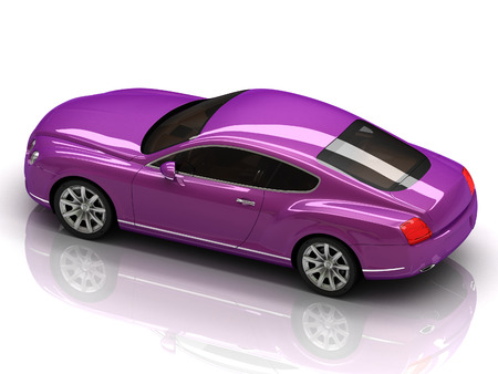 Premium lilac car with chromium wheels is isolated on a white reflective surface photo