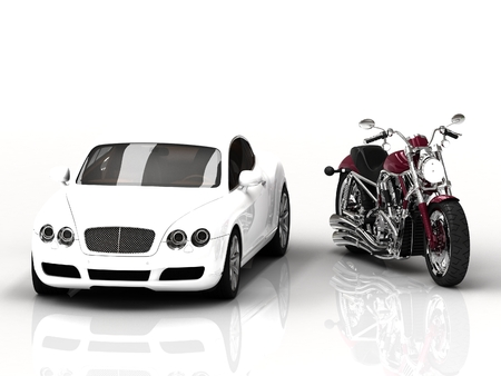 White beautiful motor vehicle and powerful motorcycle on white background. 3D type frontal