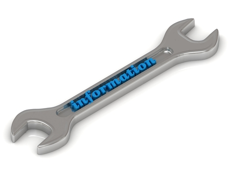Information - 3d inscription bright volume letter on metallic building spanner. Isolated on white background photo