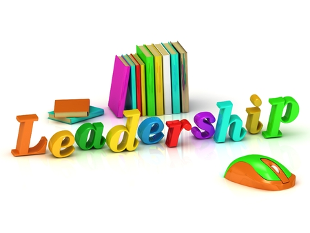 Leadership 3d inscription bright volume letter and textbooks on white background   photo