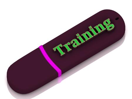 Training 3d inscription bright volume letter on USB flash drive on white background photo
