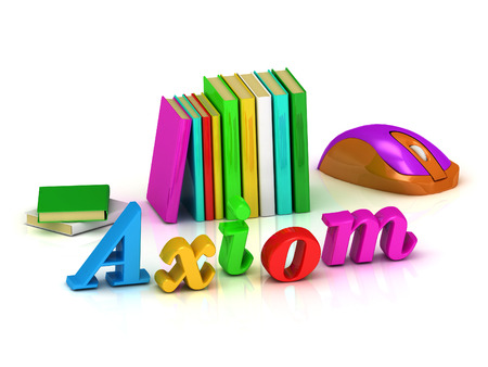axiom: Axiom - 3d inscription bright volume letter and textbooks and computer mouse on white background