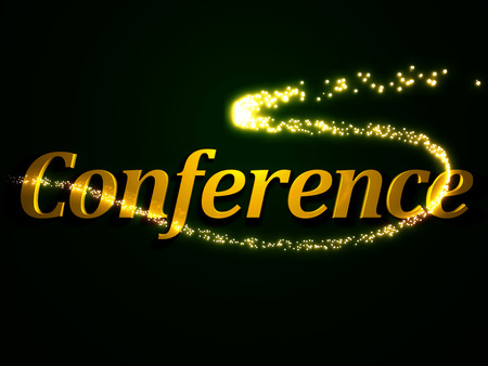 Conference - 3d inscription with luminous line with spark on contrasting background photo