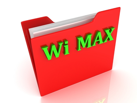 max: Wi MAX bright green letters on a red folder on a white background Stock Photo