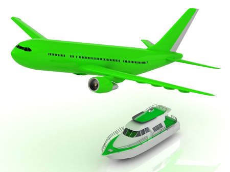 altitude: Green passenger airliner gains altitude and Green motorized pleasure boat. Top frontal isolated on white Stock Photo