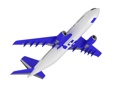 White blue passenger airliner. Top view isolated on white