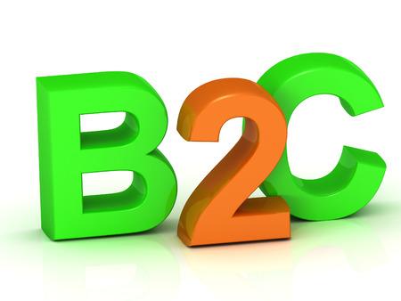 b2c: B2C 3d inscription bright volume letter on white background