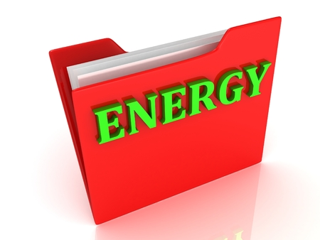 ENERGY bright green letters on a red folder on a white background photo