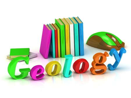 geology: geology 3d inscription bright volume letter and textbooks and computer mouse on white background Stock Photo