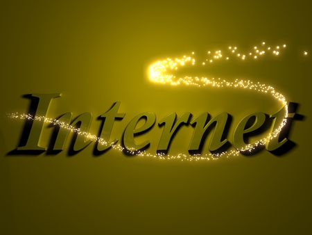 webcast: internet- 3d inscription with luminous line with spark on contrasting background