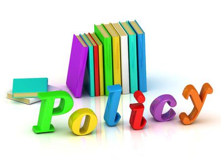 politica 3d iscrizione lettera del volume luminoso e libri di testo su sfondo bianco