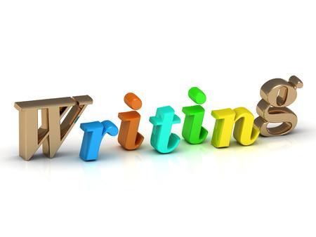 writing 3d inscription bright volume letter on white background