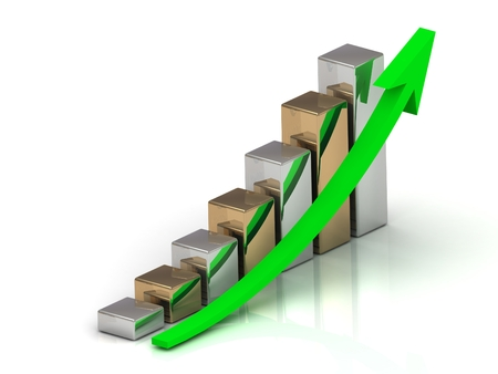 output: Business graph output growth of silver and golden bars and green arrows