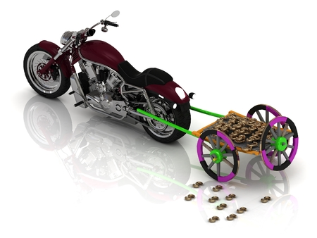 pervaded: New motorcycle carries varicoloured old wagon cart with gold and wooden wheels pervaded golden bullion dollars and euro  isolated on white