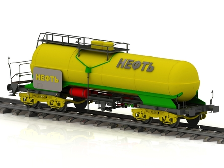 fetter: Railway tank of the wanted colour with golden inscription oil. Concept shiny coach tank stands on spare on railroad fetter