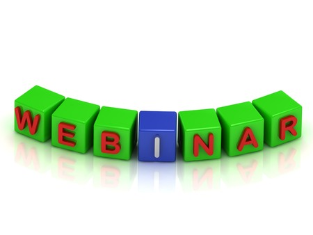 Inscription on the cubes of green and blue: webinar on a white background photo