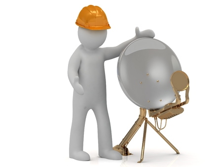 adjuster: 3d man adjuster in an orange helmet adjusts the satellite dish isolated on a white background