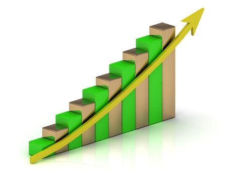 output: Industrial graph output growth of green and golden bars and yellow arrows