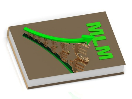 unrecognizable: Thick book in golden cover with inscription MLM and statuette growing golden euro with green arrow