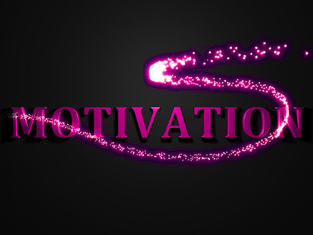 contrasting: MOTIVATION- 3d inscription with luminous line with spark on contrasting background Stock Photo