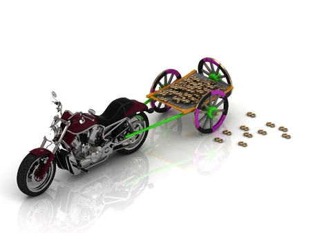 pervaded: Big motobike carries varicoloured old wagon cart with gold and wooden wheels pervaded golden bullion dollars and euro  isolated on white Stock Photo