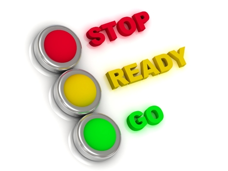 regulate: Stop, ready, go  Traffic lights with red, yellow and green lights traffic with inscriptions  Stock Photo