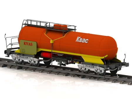 fetter: Kvass Railway wagon of the wanted colour with white inscription kvass shiny coach tank stands on spare on railroad fetter