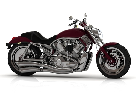 Motorcycle with steel pipe. 3D type on white background from the side photo