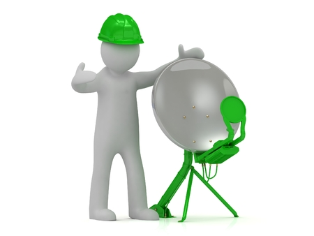 adjuster: 3d man adjuster in an green helmet adjusts the green satellite dish on a white background Stock Photo