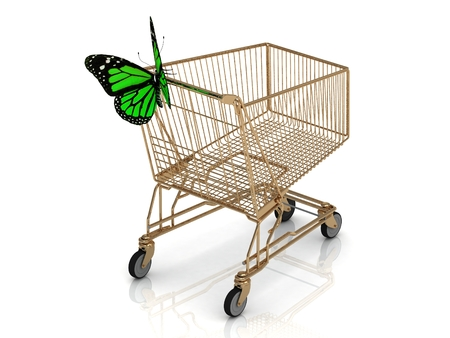 Shopping gold trolley in high definition and green butterfly Isolated on a white background photo