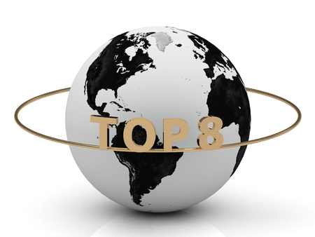 TOP 8 golden letters on a gold ring around the earth on white background Stock Photo