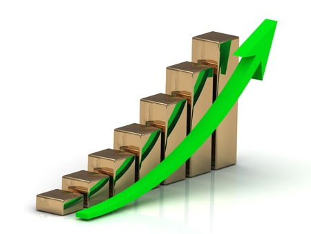 output: Graph output growth of golden bars and green arrows Stock Photo